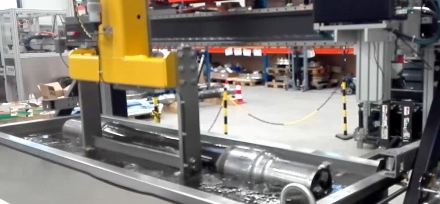 Automatic washing of the reailway axle