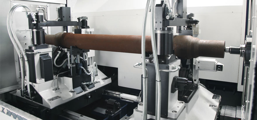 Axles ends facing machine